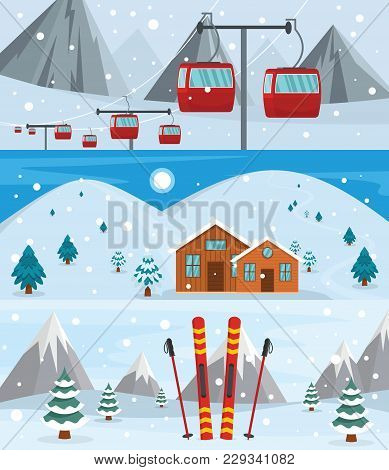 Resort Hotel Winter Banner Concept Set. Flat Illustration Of 3 Resort Hotel Winter Vector Banner Hor