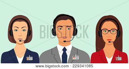 Women And Man In A Business Suits, In Headphones With Microphones And Name Tag Badges. Call Center,