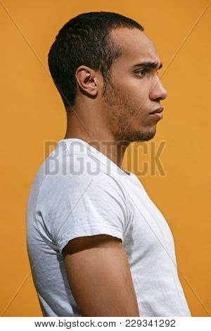 Serious Concept. Serious Afro-american Man Is Looking Serious. Young Emotional Man. Human Emotions,