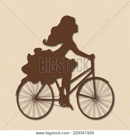 Silhouette Of Girl On Bike In Brown Tones. Illustration Of Beautiful Young Woman Riding Bicycle On B