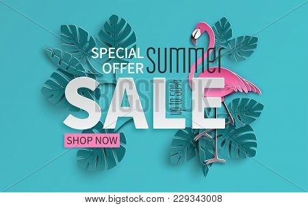 Summer Sale Banner With Paper Cut Flamingo And Tropical Leaves Background, Exotic Floral Design For