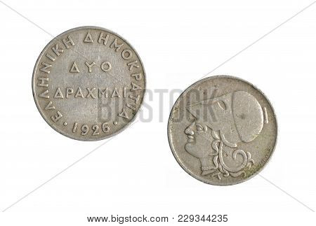 Vintage Two Drachma Coin Made By Greece