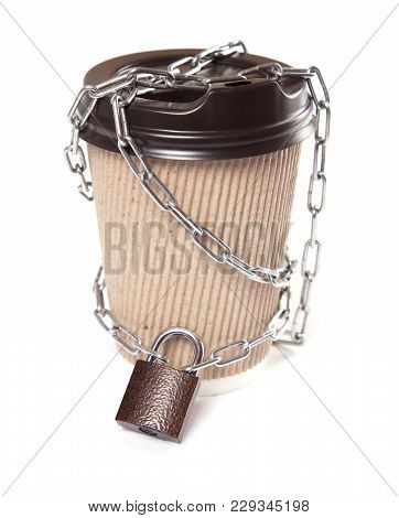 Diet Without Coffee, Without Caffeine. The Coffee Mug Is Wrapped In A Chain And Closed With A Lock.