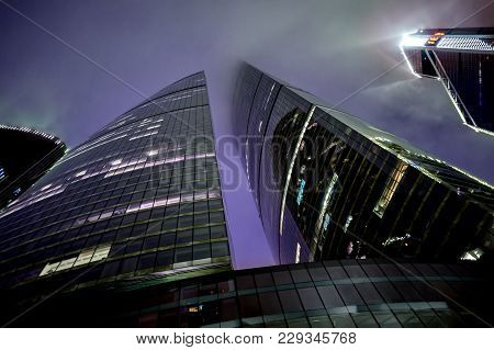 Moscow City Skyscrapers Federation Towers And Mercury City Tower At Misty Beautiful Night.  Moscow I
