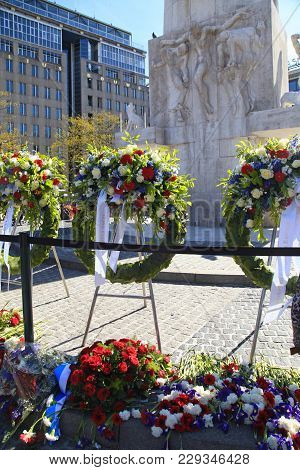 Amsterdam, Netherlands - May 5, 2016: Flowers Near The National Monument To Memorialize The Victims