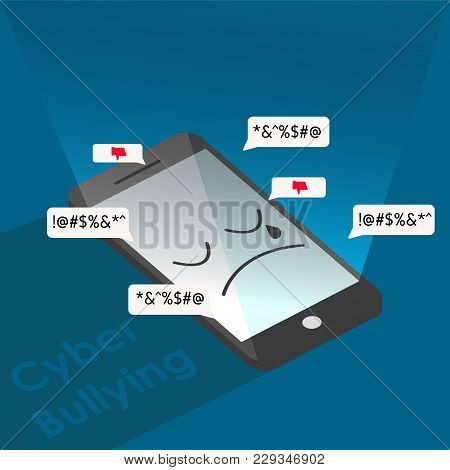 Phone Feel Sad  From Cyber Bullying Background Graphic Vector Illustrations