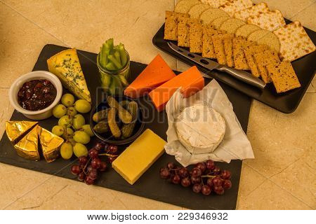 Cheeseboard, Platter For Sharing, Cheese, Red Leicester, Stilton, Cheddar, Camembert, Brie, Grapes,