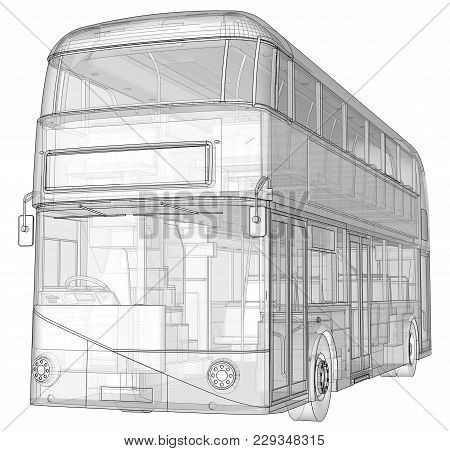 A Double-decker Bus, A Translucent Casing Under Which Many Interior Elements And Internal Bus Parts