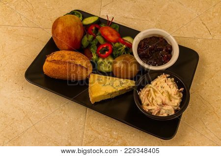Ploughman's Lunch With Stilton Cheese.