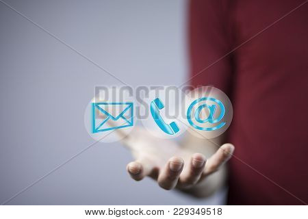 Business Man Hand Message,phone And @mail Mark In Screen