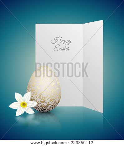 White Color Realistic Egg With Golden Metallic Floral Pattern And Happy Easter Card. White Narcissus