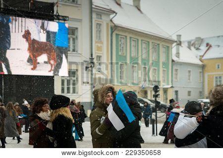 Tallinn, Estonia. 24th February, 2018. People Celebrating 100 Years Of Estonia Independence At  Toom