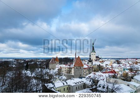 Tallinn, Estonia - February 2018: Tallinn Old Town With Snow In Winter, Estonia. The Old Town Is A P