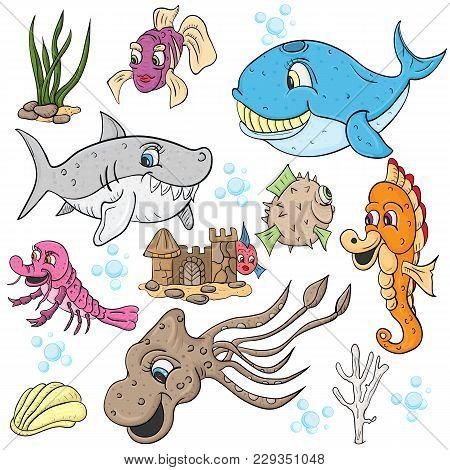 Vector Children Illustration, Underwater World, Fish And Animals, Underwater Castle, Whale, Shark, S