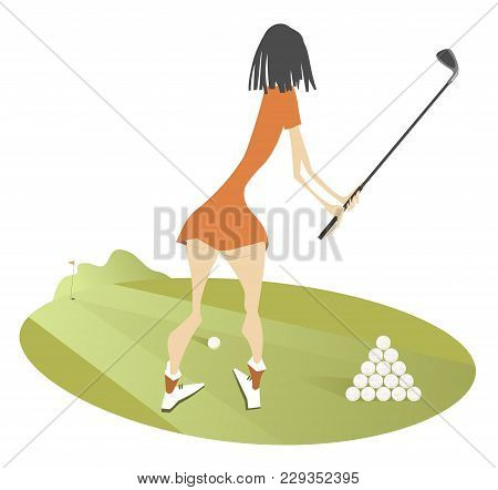 Young Woman Golfer On The Golf Course Illustration Isolated. Standing Back Young Woman Golfer Aiming