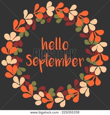 Hello September Wreath Orange Vector Card On Dark Background