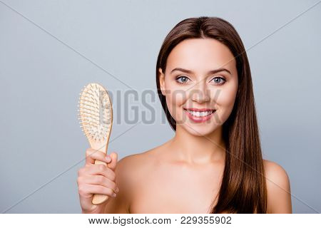 I Don't Lose Hair Anymore! Close Up Portrait Of Happy Satisfied Beautiful Girl With Shiny Smile, She