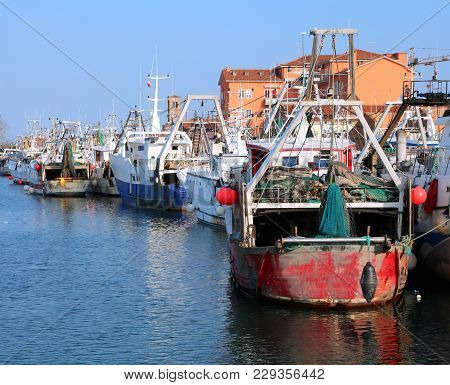 Fishing Boats In The Waterway With Many Others Industrial Boats