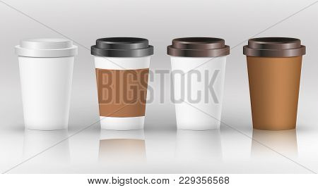 Coffee Paper Cup Set With Label. Brown Plastic Container For Drink. Latte, Mocha Or Cappuccino Cup F