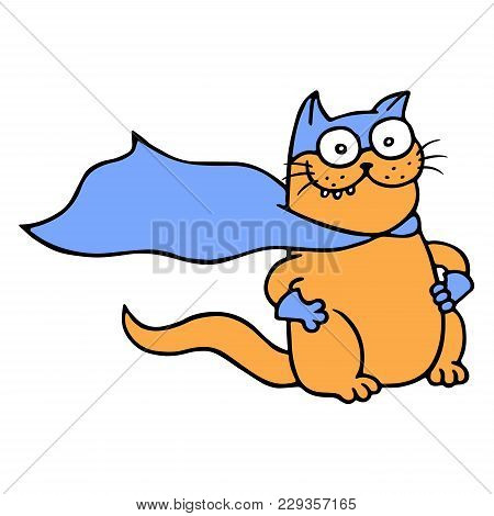 Miracle Cat In A Raincoat Is Ready To Save The World From Villains. Cute Cartoon Super Character. Ve