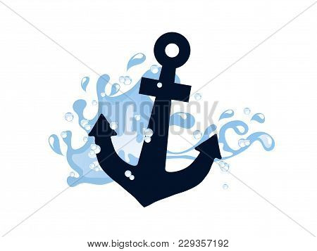 Blue Anchor In Wave Isolated On White Background