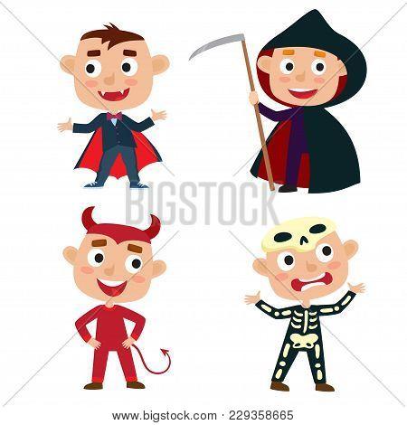 Vector Set Of Cute Cartoon Children In Colorful Halloween Costumes: Devil, Vampire, Skeleton, Death.