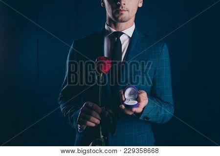 Close Up Half Face Portrait Of Man In Formal Wear, Holding In One Hand Box With Engagement Ring And