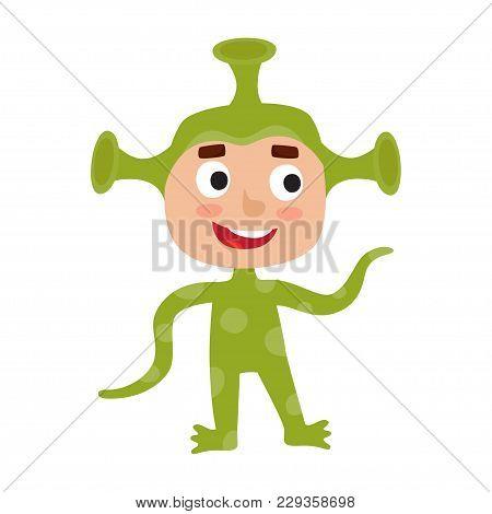 Vector Set Of Cute Cartoon Kid In Colorful Halloween Costume: Alien. Cartoon Character Design Of Boy