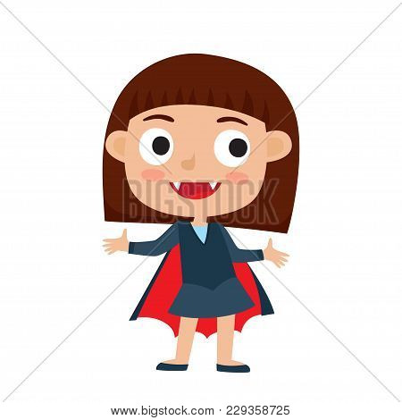 Vector Set Of Cute Cartoon Kid In Colorful Halloween Costume: Vampire. Cartoon Character Design Of G
