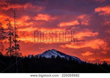 Fiery Sky Above Bow Valley, Alberta Province, Winter Morning In Canada, Freezing Morning With Fire O