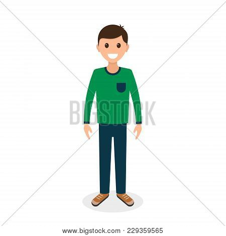 Cartoon Guy Or Man In Casual Clothes, Front View. Vector Color Illustration.