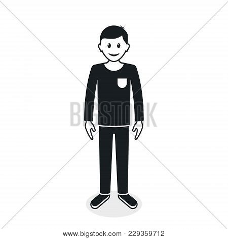 Cartoon Guy Or Man In Casual Clothes, Front View Silhouette. Vector Black Illustration.