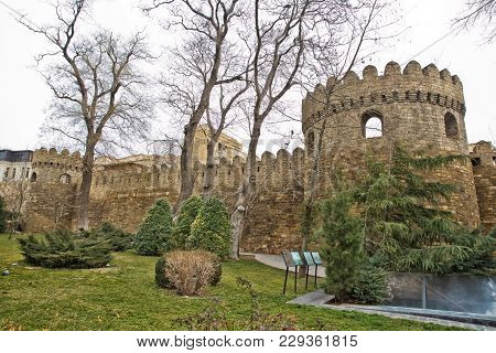Gate Of The Old Fortress, Entrance To Baku Old Town. Baku, Azerbaijan. Walls Of The Old City In Baku
