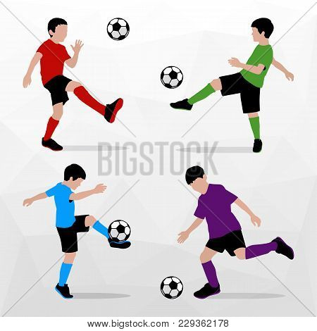 Soccer Players Silhouettes Of Kids. Boys In Sports Form. Football. Vector Illustration