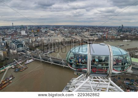 London, United Kingdom, February 17, 2018:close Up Of The London Eye In London, Great Britain With T