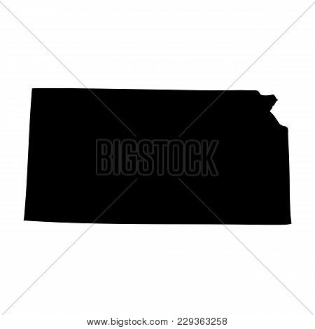 Map Of The U.s. State Of Kansas On A White Background