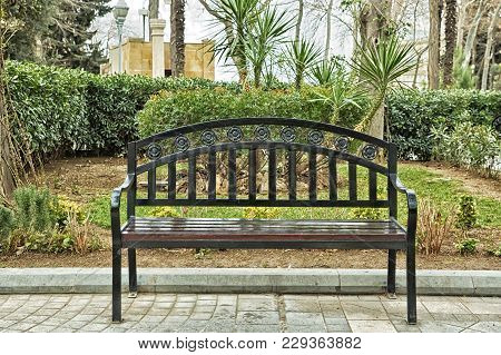 Black Bench On The Street . Bench In Park On A Background Of Brick Green Tree