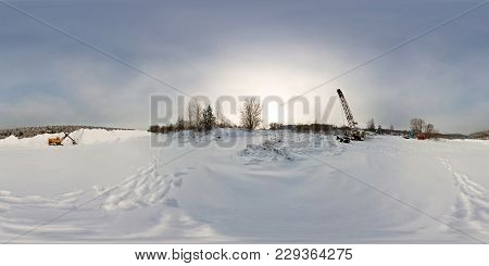 360 Panorama Exterior In Sandy Snow Covered Abandoned Quarry With Excavators And Traces On Snow. Ful