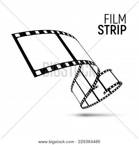 Vector Film Strip Reel. Movie Cinema 3d Filmstrip Tape Background.