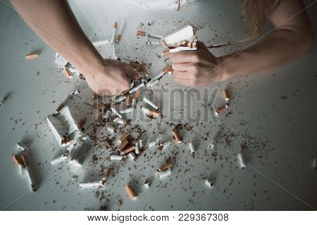 Female Hand Smashing Cigarettes On Table With Fist, Other Hand Is Squeezing Pack With Cigars. Close