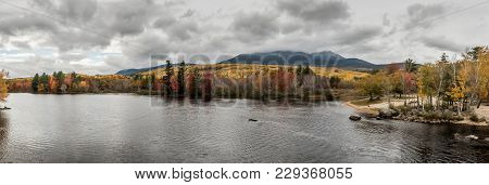 Panorama Of Penobscot River & Mount Katahdin In Baxter State Park