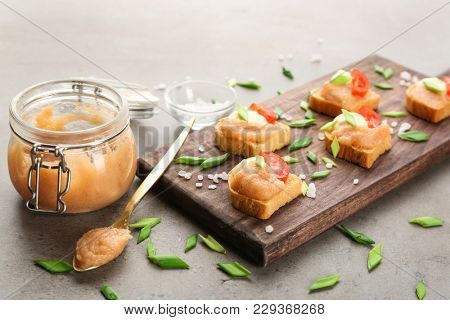 Delicious appetizers with cod caviar on table