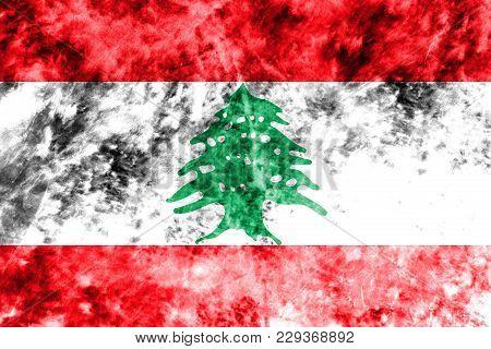 Old Lebanon Grunge Background Flag, Vintage Look