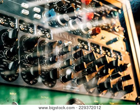 Paris, France - Jan 30, 2018: Macro Close-up Details Of Manley Studio Control Audio Monitor And Micr
