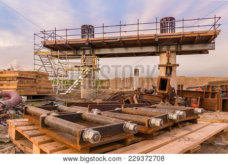 New Bridge Getting Built With A Use Of A Crain,
