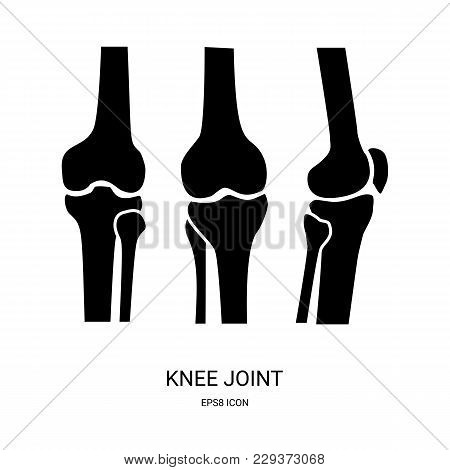 Knee Joint Icon. Human Bones Joint Symbol For Medical Apps And Websites