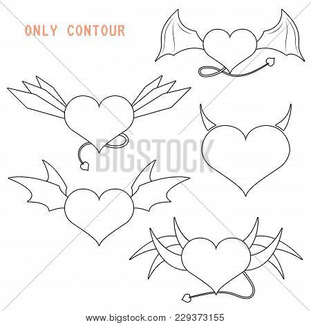 Winged Demoniac Hearts Cute Evil Hearts With Tails Different Wings