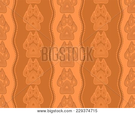 Seamless Pattern With Paw And Claws Made In A Decorative Manner And Boho Style Orange-brown Colors