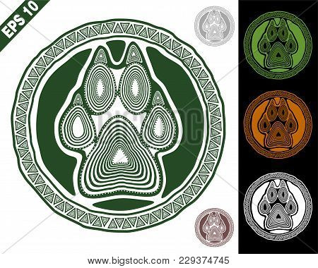 Animal Logo (sign, Emblem, Symbol) In A Circle With Paw And Claws Made In A Decorative Manner Of Dar