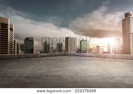 Rooftop Balcony With Cityscape